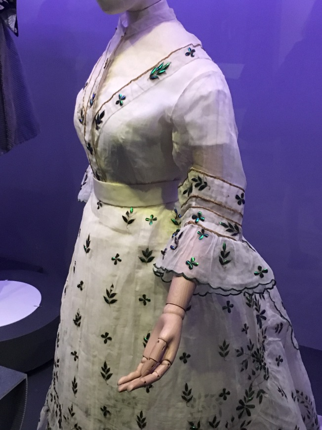 over 5000 beetle carapaces where embroidered onto this Victorian gown.